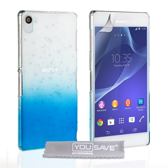 Yousave Accessories Sony Xperia Z3+ Raindrop Hard Case - Blue-Clear
