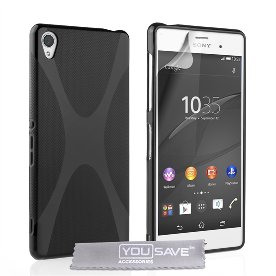 Yousave Accessories Sony Xperia Z3+ Silicone Gel X-Line Case - Black