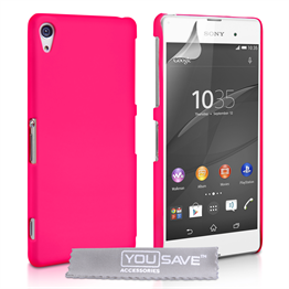 Yousave Accessories Sony Xperia Z3+ Hard Hybrid Case - Hot Pink
