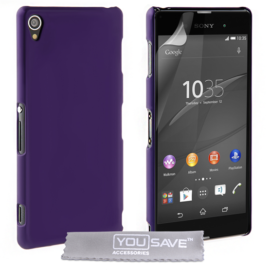 Yousave Accessories Sony Xperia Z3+ Hard Hybrid Case - Purple