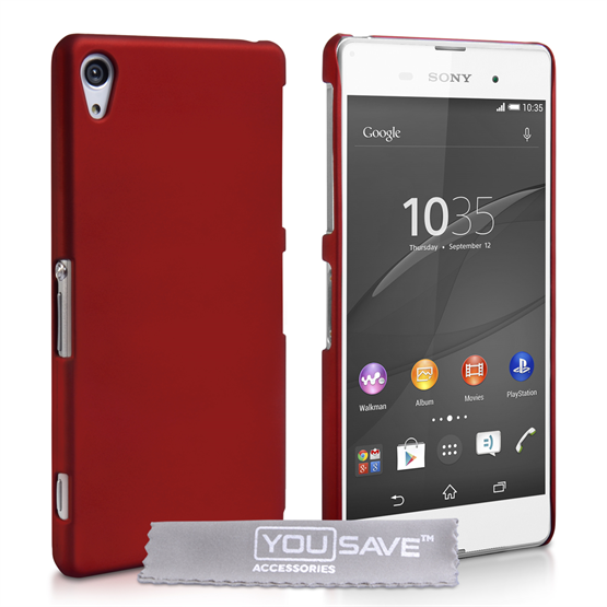 Yousave Accessories Sony Xperia Z3+ Hard Hybrid Case - Red