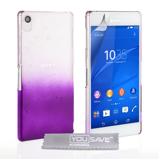Yousave Accessories Sony Xperia Z3+ Raindrop Hard Case - Purple-Clear