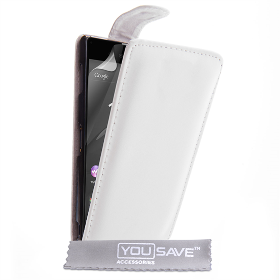 Yousave Accessories Sony Xperia Z3+ Leather-Effect Flip Case - White