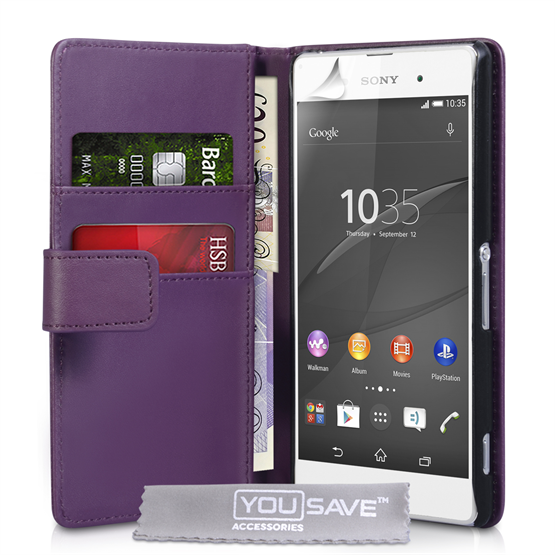 Yousave Accessories Sony Xperia Z3+ Leather-Effect Wallet Case - Purple