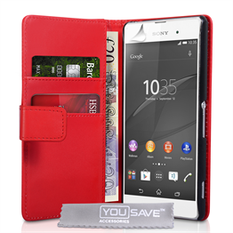 Yousave Accessories Sony Xperia Z3+ Leather-Effect Wallet Case - Red