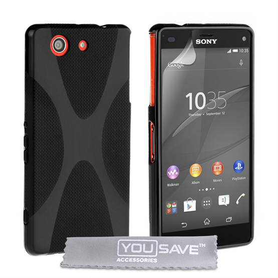 Yousave Accessories Sony Xperia Z4 Compact Silicone Gel X-Line Case - Black