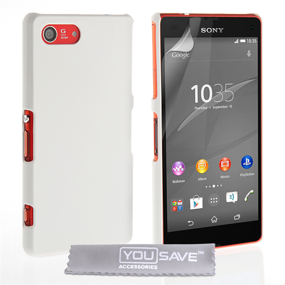 Yousave Accessories Sony Xperia Z4 Compact Hard Hybrid Case - White