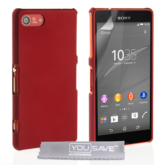 Yousave Accessories Sony Xperia Z4 Compact Hard Hybrid Case - Red