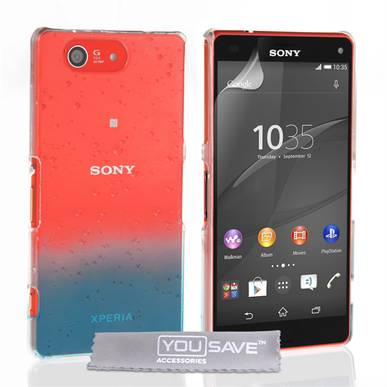 Yousave Accessories Sony Xperia Z4 Compact Raindrop Hard Case - Blue-Clear