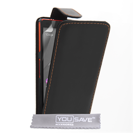Yousave Accessories Sony Xperia Z4 Compact Leather-Effect Flip Case - Black