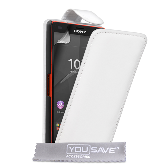 Yousave Accessories Sony Xperia Z4 Compact Leather-Effect Flip Case - White