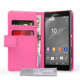 Yousave Accessories Sony Xperia Z4 Compact Leather-Effect Wallet Case - Hot Pink