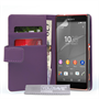 Yousave Accessories Sony Xperia Z4 Compact Leather-Effect Wallet Case - Purple