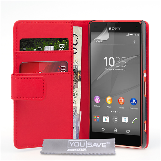 Yousave Accessories Sony Xperia Z4 Compact Leather-Effect Wallet Case - Red