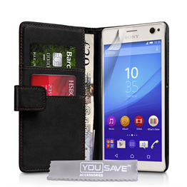 Yousave Accessories Sony Xperia C4 Leather-Effect Wallet Case - Black