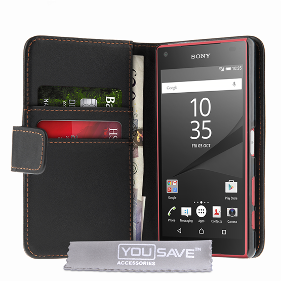Yousave Accessories Sony Xperia Z5 Compact Leather-Effect Wallet Case - Black