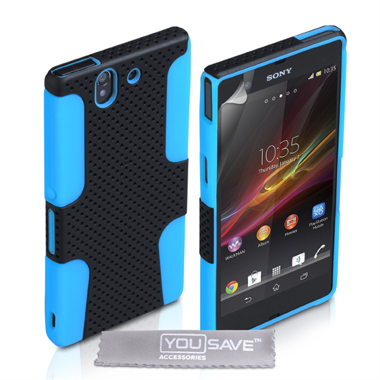 Yousave Accessories Sony Xperia Z Trade Mesh Combo Blue Case
