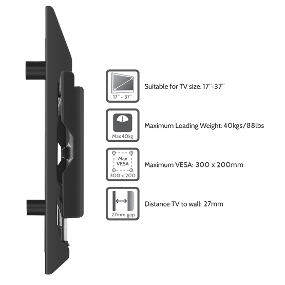 Yousave Accessories Slim Compact Fixed Position TV Wall Mount Bracket for 17