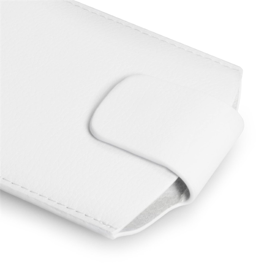 Yousave Accessories White Lichee PU Leather Pouch (M)