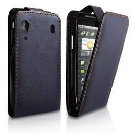 Yousave Accessories Orange ZTE V960 Leather Effect Flip Case - Black